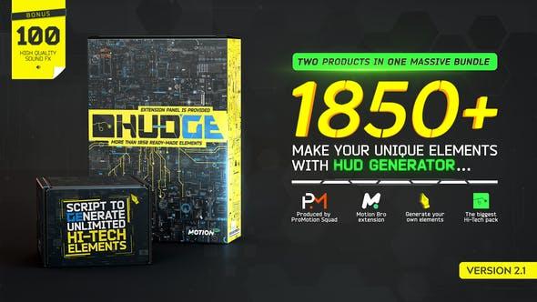 HUDGE | Generator of Hi-Tech Elements | 1850+ HUD UI V2.1 26509230 - After Effects Project Files