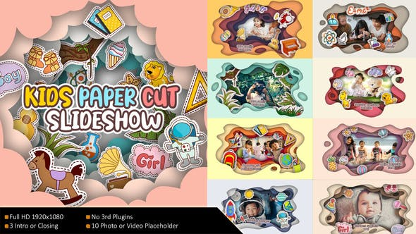Kids Paper Cut Slideshow 32435875 - After Effects Project Files