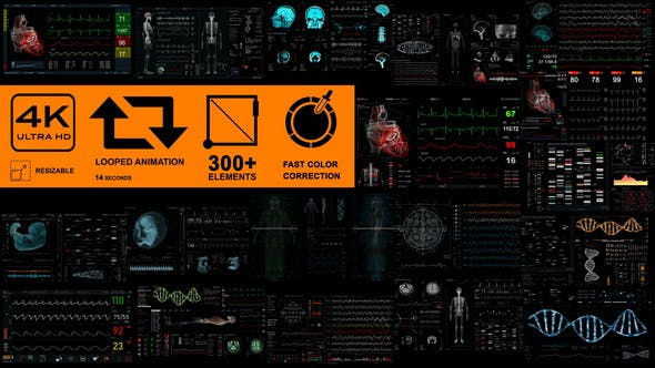 Medical Pack 18 Screens (300+ elements) 31030245 - After Effects Project Files