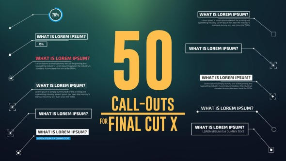 Videohive 50 Call-Outs Pack 14531447 (Updated 16 January 18) - FCPX