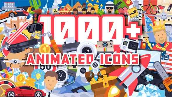 Videohive 1000+ Flat Animated Icons Pack 21539748