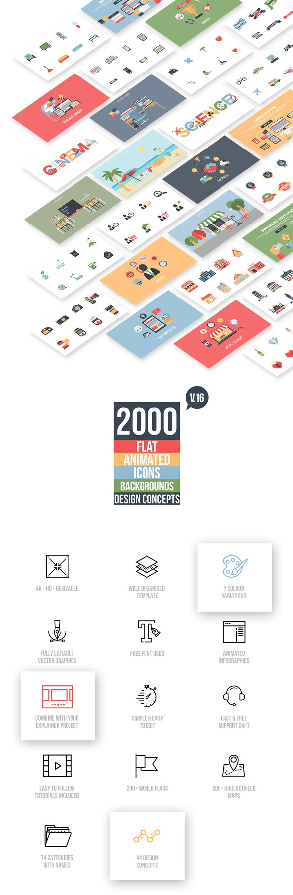 Videohive Flat Animated Icons Library v16 11453830 [Last Update 29/06/18]