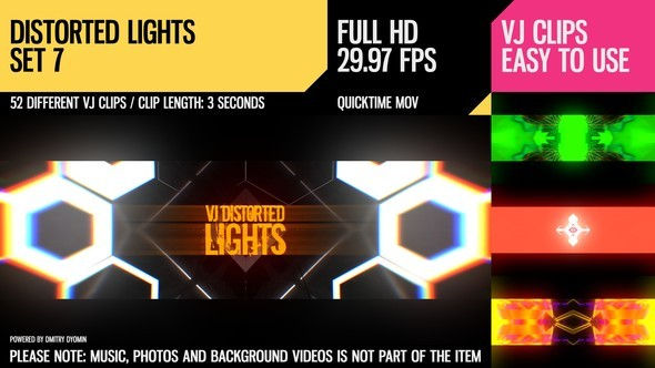 Videohive VJ Distorted Lights (Set 7) 19270921
