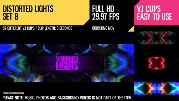 Videohive VJ Distorted Lights (Set 8) 19270951