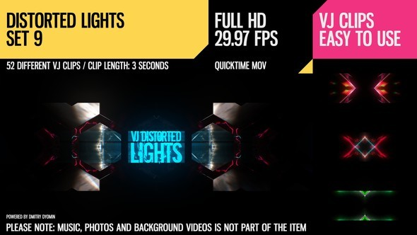 Videohive VJ Distorted Lights (Set 9) 19270970