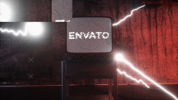 Videohive Old Distorted Horror TV Glitch Logo Opener 20663102