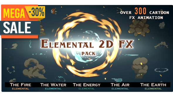 Videohive Elemental 2D FX pack [300 elements] V.5 9673890