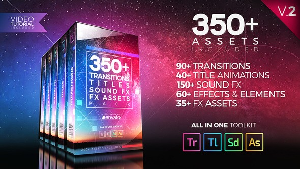 Videohive 350+ Pack: Transitions Titles Sound FX V2 21474240 - Premiere Pro
