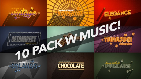 Videohive 4K Vintage Retro 10 Logo Text Intro Pack 22039249