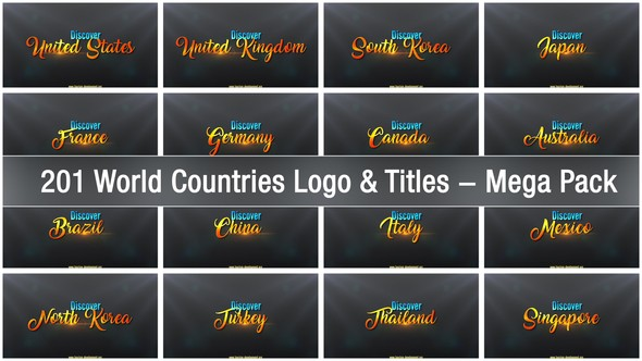 Videohive 201 World Countries Logo & Titles - Mega Pack 22428109