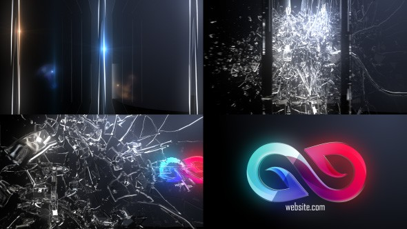 Videohive Abstract Glass Shatter Logo Opener 21100554