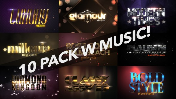 Videohive 4K Luxury 10 Logo Text Intro Pack 22031438