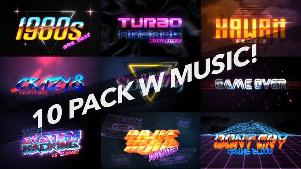 Videohive 4K 1980s 10 Logo Text Intro Pack 22018702