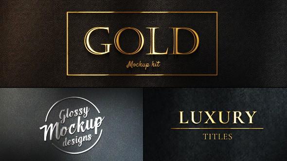 Videohive Gold Mockup Kit - Glossy Logo & Titles 20543730