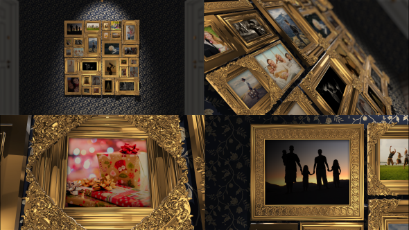 Videohive Golden Frames Photo Gallery Kit 18819937