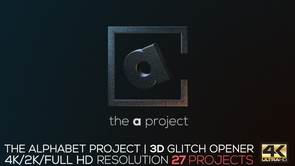 Videohive The Alphabet Project | 3D Glitch Opener 18239333