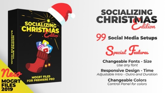 Videohive Socializing - Christmas Edition | MOGRT files for Premiere PRO 23034203