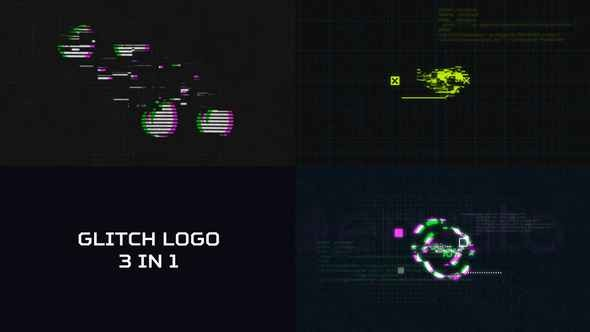 Videohive Glitch Logo 3 in 1 21170904