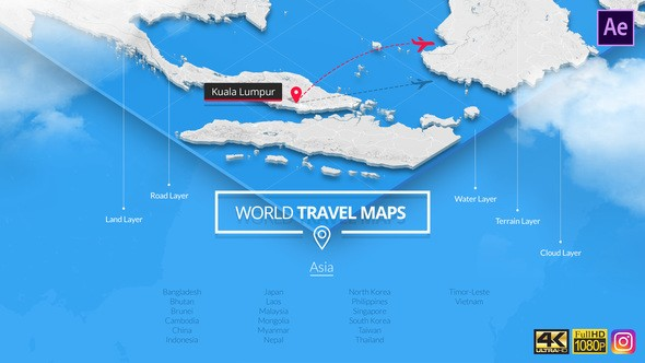 Videohive World Travel Maps - Asia 23191949