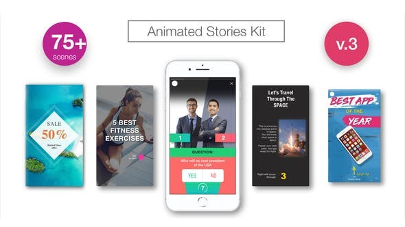 Videohive Animated Stories Kit // Instagram, Snapchat, Facebook 21437547
