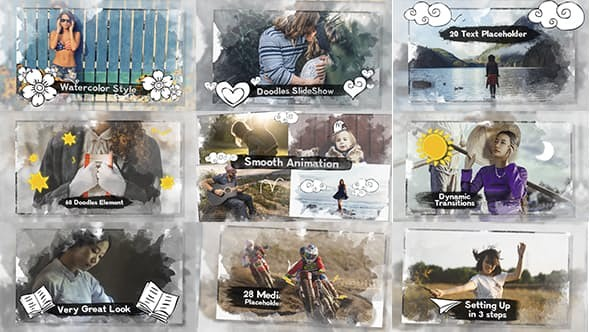 Videohive Photo Slideshow  Watercolor & Doodles 12080107