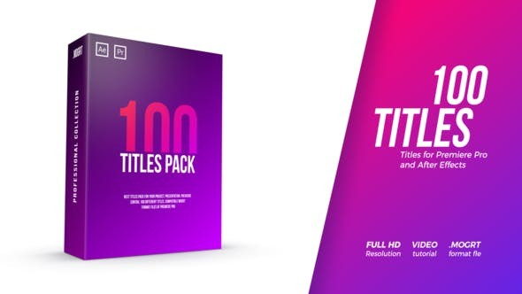 Videohive 100 Titles Pack 22096197