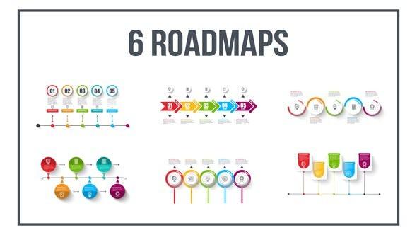 Videohive 6 Roadmaps Templates - Set Five 23585813