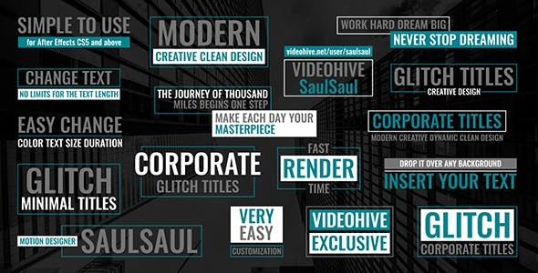 Videohive Glitch Corporate Titles - After Effects Project