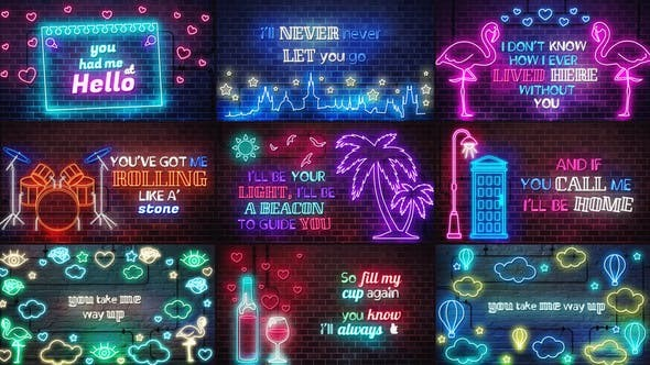 Videohive Neon Lyrics Template  - After Effects Template