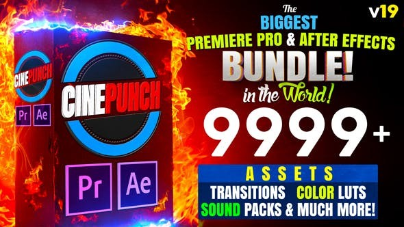 Videohive CINEPUNCH (BUNDLE) - Premiere Pro Transitions I Color LUTs I SFX - 18 PACKS - 9999+ Assets V19- After Effects Presets