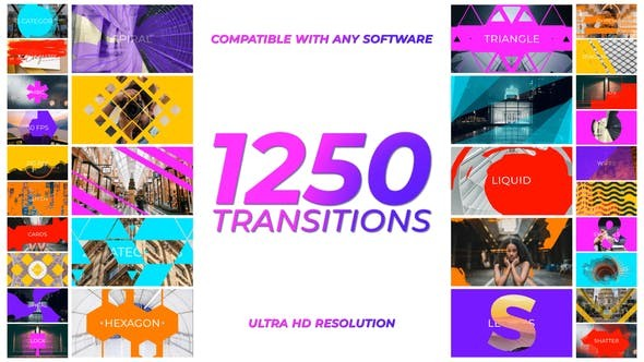 Videohive 1250 Transitions 29682614 - Motion Graphics