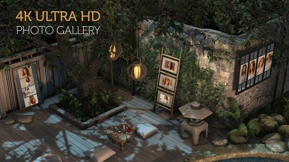 Videohive Photo Gallery in a Garden at Night 29946945 - After Effects Project Files