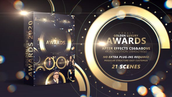 Videohive Cobalt Golden Luxury Awards 4K 29533719 - After Effects Project Files