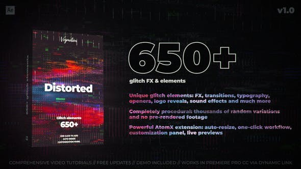 Videohive 650+ Glitch Elements 29662551 - After Effects Project Files
