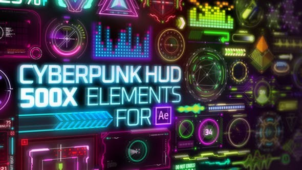 Videohive Cyberpunk HUD Elements for After Effects 29060179 - Project & plugin for After Effects [Works with MotionFactory]