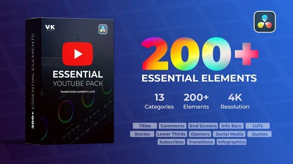 Videohive Youtube Essential Pack 30928023 -  DaVinci Resolve Templates