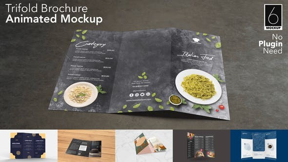 Videohive Trifold Brochure Animated Mockup Set 31032511 - After Effects Project Files