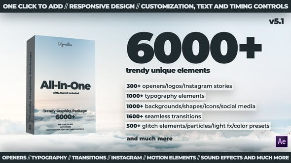 Videohive 6000+ All-In-One Motion Graphics Pack V5.1 24321544 - After Effects Project Files