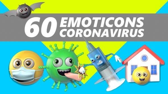 60 Emoticons Coronavirus 30442706 - Motion Graphics