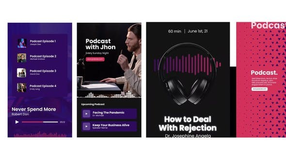 Audio Podcast Visualizer Stories 322296907 -  After Effects Project Files